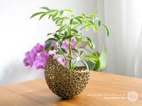 A burgeoning capsule Planter with small Pot in White Natural Versatile Plastic