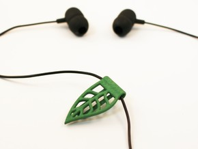 Leaf cable clip for headphones in Green Strong & Flexible Polished