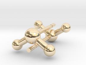 Water Molecule Stud Earrings in 14K Yellow Gold