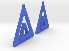 Triangle Earring Pair Model O Solid in Blue Processed Versatile Plastic
