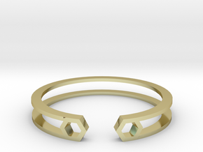 HH Bracelet Sharp, Medium Size, 65mm. Minimalistic in 18k Gold Plated Brass: Medium