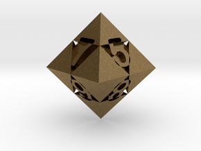 Optical Art D8 Dice in Natural Bronze