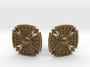 Designer Shield Cufflinks in Natural Bronze