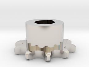 Pignone Per Catena Semplice ISO 04B-1 P6 Z10 in Rhodium Plated Brass