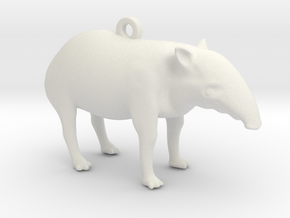 Malayan Tapir Key-Chain in White Natural Versatile Plastic