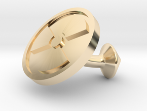 SINGLE Cufflink for NUKE - Nuclear Hazard in 14k Gold Plated Brass