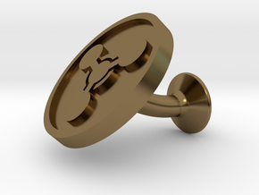 SINGLE Cufflink for CHEM - Chemical Hazard in Polished Bronze
