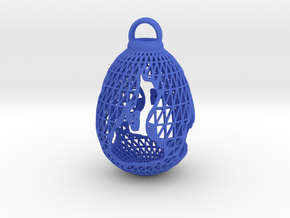 3D Printed Block Island Egg Ornament in Blue Processed Versatile Plastic
