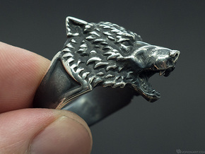 Wolf Head Ring in Polished Silver: 11.5 / 65.25