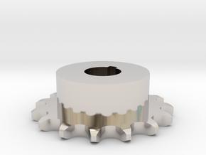 Pignone Per Catena Semplice ISO 04B-1 P6 Z15 in Rhodium Plated Brass