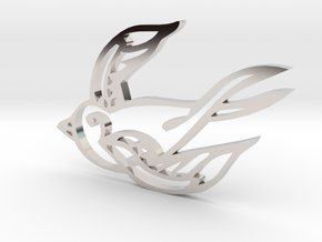 Swallow in Rhodium Plated Brass