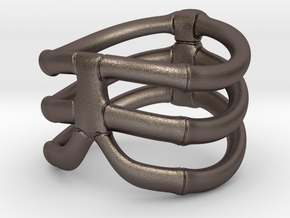Thorsten 3 Rib - Ring in Polished Bronzed Silver Steel: 6 / 51.5