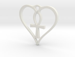 Heart Ankh Pendant in White Natural Versatile Plastic