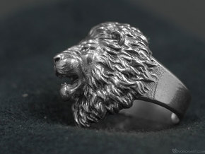 Aggressive Lion Ring in Natural Silver: 11.5 / 65.25