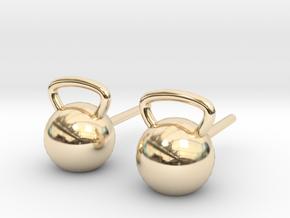 Kettlebelt Studs in 14k Gold Plated Brass