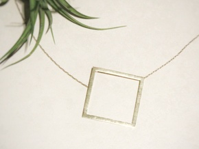Square Pendant in Natural Brass