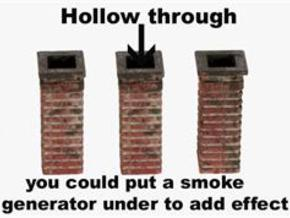 Chimneys Hollow through HO Scale 3 Pack in White Natural Versatile Plastic
