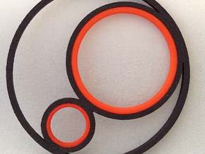3CIRCLES PENDANT PLASTIC INSERT in Red Strong & Flexible Polished