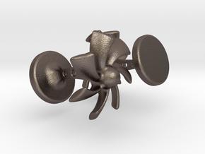 Turbine Cufflinks in Polished Bronzed Silver Steel