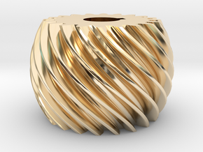 Convex helical gear in 14K Yellow Gold