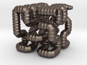 Hilbert Worm in Polished Bronzed Silver Steel