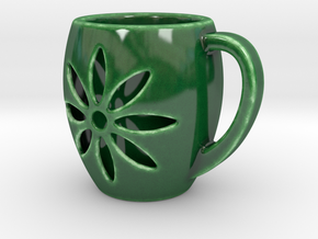 Double Wall Cup - Handle in Gloss Oribe Green Porcelain