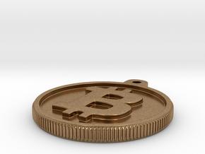 Bitcoin Keychain in Natural Brass