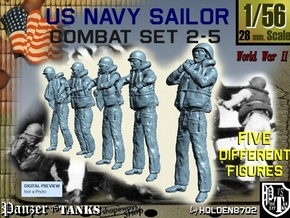 1-56 US Navy Sailors Combat SET 2-5 in Smooth Fine Detail Plastic