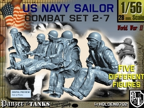1-56 US Navy Sailors Combat SET 2-7 in Smooth Fine Detail Plastic
