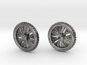 Motorcycle Dirtbike Tire and Wheel Earings, Studs in Polished Silver