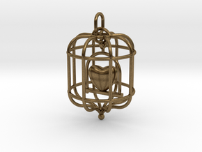 Caged Heart in Natural Bronze (Interlocking Parts)