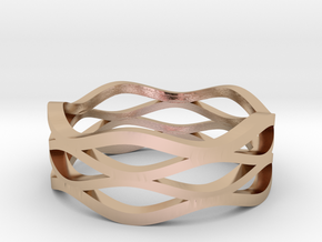 Wave Ring in 14k Rose Gold Plated Brass
