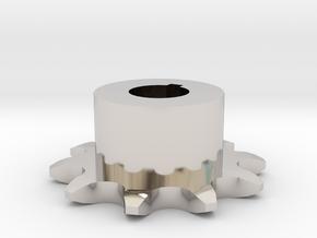 Chain sprocket ISO 05B-1 P8 Z10 in Rhodium Plated Brass