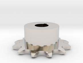 Chain sprocket ISO 05B-1 P8 Z12 in Rhodium Plated Brass
