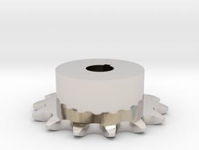 Chain sprocket ISO 05B-1 P8 Z14 in Rhodium Plated Brass