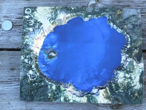 Crater Lake Map, Oregon in Glossy Full Color Sandstone