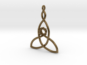 Mother And Child Knot with mount for gem in Polished Bronze