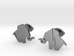 Origami Elepant Cufflink in Polished Silver