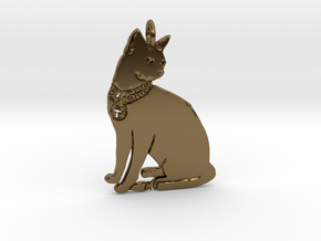 Lucky Cat Pendant in Polished Bronze
