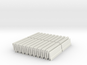 [40st] Halve Betonbarrier 1:87 (H0) in White Natural Versatile Plastic