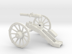 7 Years War French cannon 4 Pounder short 28mm in White Strong & Flexible