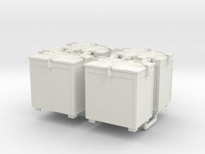 Oerlikon 20mm Ammunition Locker x 4. 1/30 Scale in White Natural Versatile Plastic