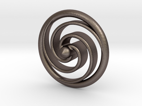 Spiral Spinning Top in Polished Bronzed Silver Steel