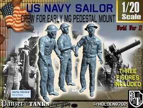 1-20 USN Early MG Mount Crew Set1 in White Natural Versatile Plastic