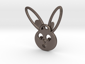 Rabbit pendant in Polished Bronzed Silver Steel