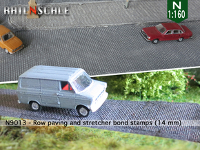 Row paving and stretcher bond stamps (N 1:160) in Smooth Fine Detail Plastic