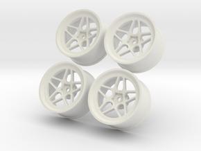 1.10 Touring Car Vossen LC104 Wheels Set in White Natural Versatile Plastic