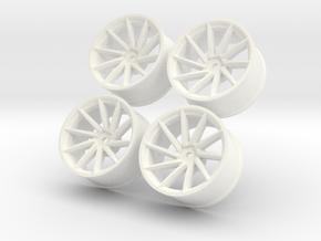 1/10 Touring Car Vossen CVT Wheels Set  in White Processed Versatile Plastic