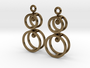 Double Double  -- Earrings in Interlocking metal in Interlocking Polished Bronze