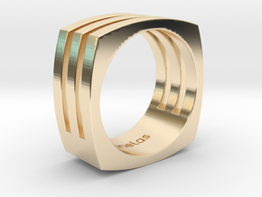 Ring square in 14k Gold Plated Brass